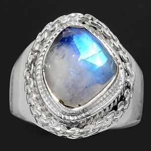 Faceted Rainbow Moonstone - India 925 Silver Ring
